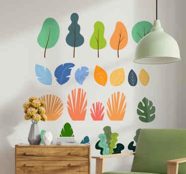 選択したスペースを飾るための装飾的なカラフルなモンスター植物ステッカーのパック。適用が簡単で、高品質のビニールで作られています。