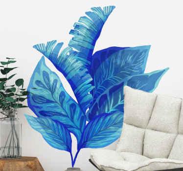 Vinilo pared salón de plantas monstera de color azul. Una preciosa idea para el salón, fácil de aplicar y de calidad ¡Envío a domicilio!