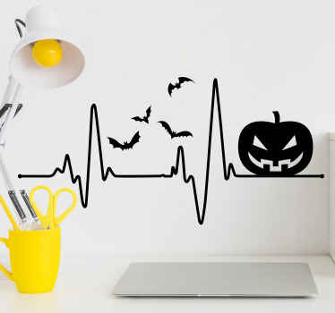 Simple decorative Halloween wall sticker with the design of a pumpkin on a wave line with birds flying all around. Easy to apply and of high quality.