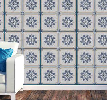 グレーとブルーのカラーで作成された装飾的な花模様のタイルデカール。オリジナルで防水性があり、シワになりにくいです。