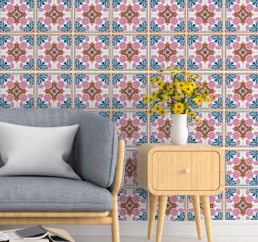 You can transform any space in your home with this colorful diverse flower pattern tile decal made of high quality vinyl.