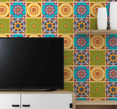 Colorful pack of mandala tile sticker to decorate any space in the home. Suitable for bathroom, kitchen and any other space of choice.