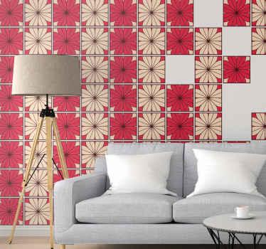 グレーと赤の色で作成された装飾的な花模様のタイルデカール。製品は防水性があり、オリジナルで、しわ効果に対する耐性があります。
