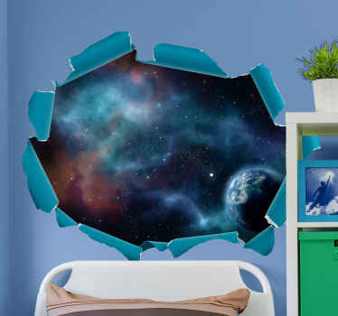 An original 3D visual effect sticker of universe view. The design contains  stars, planet and other colorful element present in it.