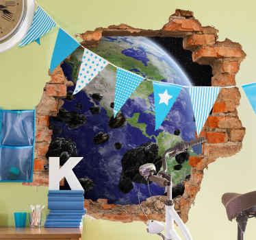 Increíble vinilo infantil de meteorito óptico y tierra para decorar el cuarto de tus hijos con este diseño original ¡Envío a domicilio!
