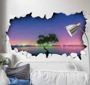 Vinilo 3d paisaje con vistas a las estrellas y a un árbol en el agua en un precioso amanecer. Elige las medidas ¡Envío a domicilio!