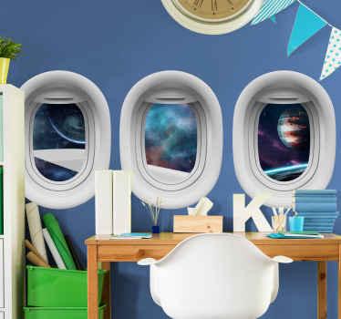 Vinilo infantil espacio 3d de cohete espacial con efecto óptico con vistas de 3 ventanas hacia el espacio. Elige medidas ¡Envío a domicilio!