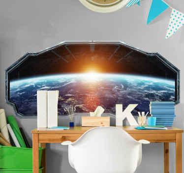 Decore el cuarto de su hijo con este vinilo infantil espacio 3d para pared con vistas a la Tierra con estrellas y el sol ¡Envío a domicilio!