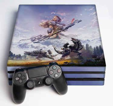 ビデオゲームコンソールおよびコントローラー用の装飾的な地平線ゼロ夜明けps4スキンステッカー。製品は適用が簡単で高品質です。