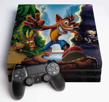 Crash Bandicoot ps4 skin wrap sticker with an original textured featured background. Easy to apply and made of high quality vinyl.
