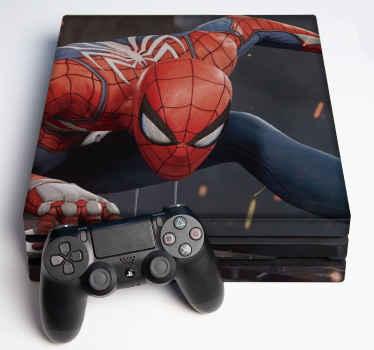 ゲームコンソールの表面を美しくするスパイダーマンps4スキンステッカー。オリジナルで耐久性があり、高品質のビニール製です。