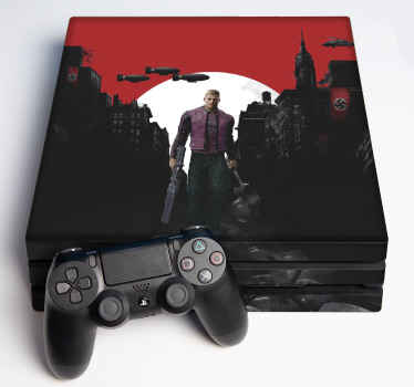 A realistic and visual effect ps4 decal of wolfenstein. Wrap your console or gaming controller with this amazing original 3D design of high quality.