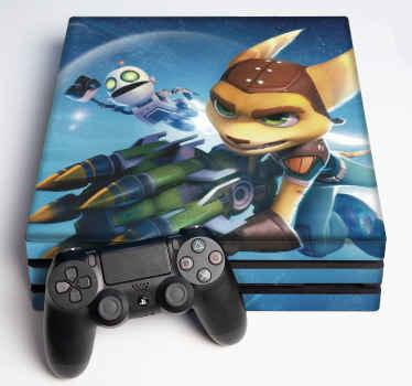 デバイスの表面を包むラチェットとクランクの装飾的な現実的なビデオゲームコンソールのステッカー。オリジナルで簡単に適用できます。