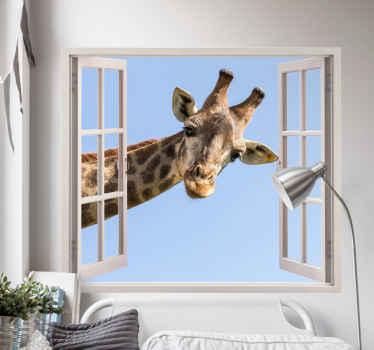 Decoratief giraffe 3d sticker die u geweldig zou vinden op uw ruimte. Het ontwerp bevat een grote giraf die het hoofd door een raamruimte trekt.