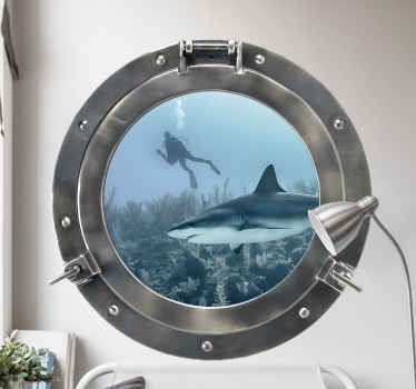 A decorative 3D visual effect wall sticker design of marine life for home and other spaces. It design contain shark under the sea with an ocean diver.