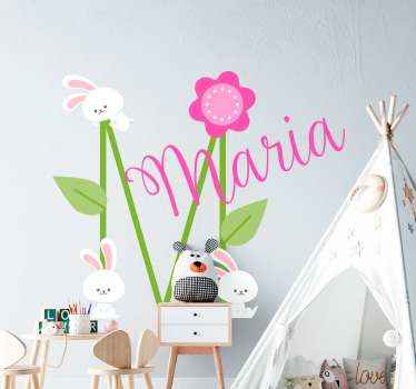 Customized name with bunnies illustration sticker. Cute and interesting design to personalize the room space of children.