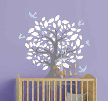 A lovely decorative illustrative tree wall art decal of a tree with white leaves and blue colour birds flying. Easy to apply and of high qulaity.