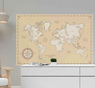 Vinilo mapamundi niños con fondo vintage y con brújula con los nombres de océanos y continentes. Fácil colocación ¡Envío a domicilio!