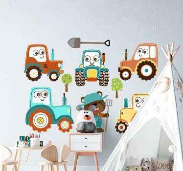 Set di sticker da muro di trattore per bambini. Contiene diversi tipi di trattori in colori sorprendenti. Facile da applicare e di alta qualità.