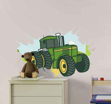 Tractor 3D john deere illustration sticker.  Suitable for children bedroom decoration , easy to apply and of high quality.