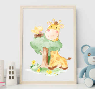 Decorative tree wall art decal with a giraffe and bird on a nest. The design  is made in watercolor texture. Easy to apply and of quality.