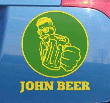 ジョンビール車のビニールステッカー。ビールカップを持っている人の装飾的なデザイン。必要なサイズで利用でき、適用が簡単で高品質です。