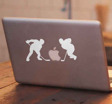Extreme sport laptop sticker design of a two hockey players.  A silhouette vinyl decal that you can purchase in about 50 different colour options..