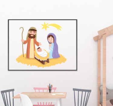 Ilustracyjna naklejka bożonarodzeniowa narodziny Jezusa dla dzieci. Projekt przedstawiał Maryję, Józefa i Dzieciątko Jezus w kołysce.