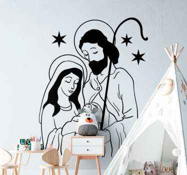 The drawing image illustration of the Jesus, Mary and Joseph. A  Christmas wall decal depicting the birth of Jesus which is known as the nativity.