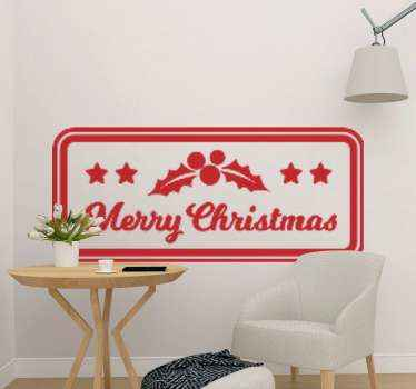 Decorative Christmas tag sticker made with ornamental design elements with inscribed 'Merry Christmas' on a rectangle background.