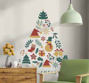 Decorative holiday ornaments cluster Christmas sticker. A tree design containing hats, gift presents, socks, bell, Christmas tree, snowman etc.