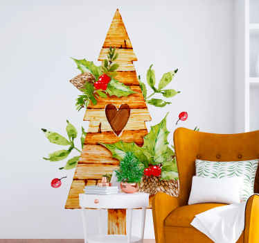 Wood texture Christmas tree decal with fruit plants. Made of high quality vinyl and really easy to apply. Available in any size required.