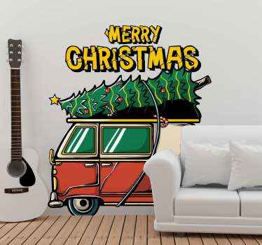 Fun and happy Christmas wall sticker of a van conveying big Christmas tree It is inscribed with 'merry Christmas''. Easy to apply.