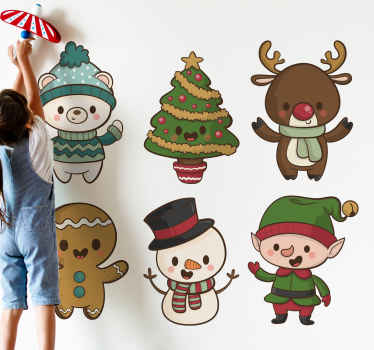 Happy Christmas featured decal for children. The design contains different  baby cartoon characters that represents, reindeer, snowman, tree etc.