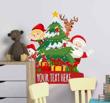 Beautiful Christmas sticker design featured with  Santa Claus, reindeer, Christmas tree, gift boxes and more. Easy to apply and of high quality.