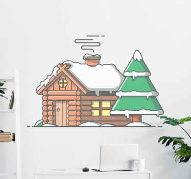 A lovely decorative Christmas wall art sticker design of a house and Christmas tree covered with snow. An original, and durable product easy to apply.