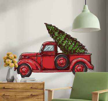 A lovely decorative Christmas wall design featured with a truck carrying a big Christmas tree. Easy to apply and of high quality vinyl.