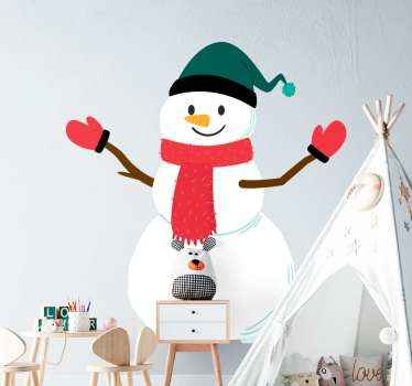 Realistic snowman Christmas wall sticker. The design is a snowman art with a green hat, red scarf around the neck with hand gloves.