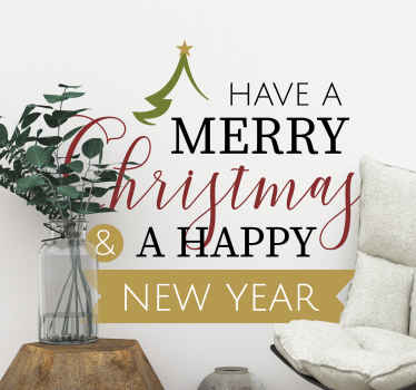 Merry Christmas and Happy New Year sticker. A beautiful decorative design to add a lovely touch on any space for Christmas.