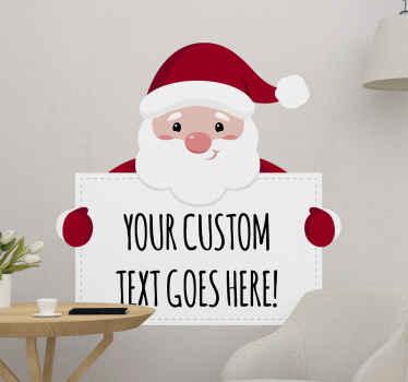 Adesivo da parete con babbo natale per decorare lo spazio di una casa per natale. è personalizzabile con il tuo testo. Facile da applicare e di alta qualità.