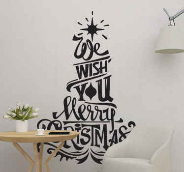 We wish you marry Christmas tree wall sticker design.  A design assembled with text and ornamental features to form a tree.