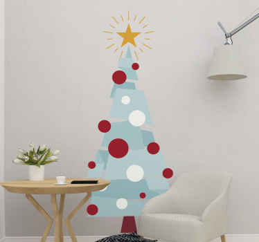 Special decorative Christmas tree sticker design with geometric features. The tree design is assembled with geometric features in colorful appearance.