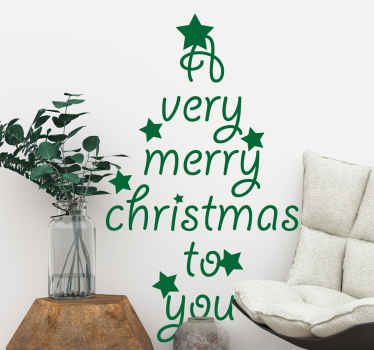 Say merry Christmas to your loved ones, family and guest with this lovely decorative Christmas tree sticker design with text.