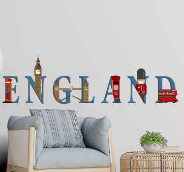 Decorative England landmarks wall sticker design containing important land marks of  England.   It is original, durable and easy to apply.