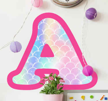 Decorative alphabet wall art sticker with mermaid skin texture. It is colorful and would be lovely on any space. Easy to apply and available in  sizes.