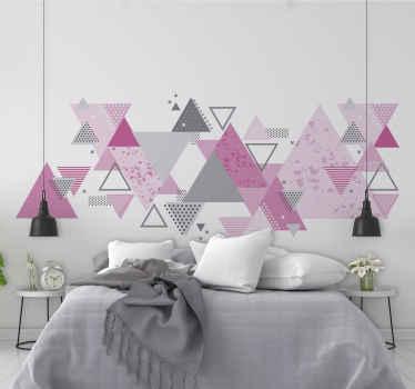 Vinilo triángulos nórdicos rosa y gris de pared para el hogar que puedes usar como cabecero del cuarto de tu hija ¡Envío a domicilio!