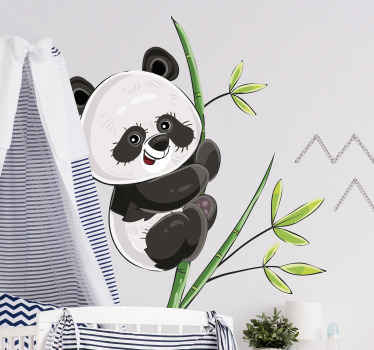Decorative illustrative wall sticker of panda climbing a tree. A design for children bedroom space. It is easy to apply and of high quality vinyl.