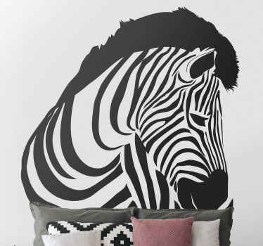 Wall sticker with zebra presents a pattern of a zebra leaning backwards. Beautiful decoration for your bedroom or dining room.