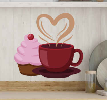 Wall sticker with coffee and cupcake. The pattern shows a red cup with a heart shaped steam and a cupcake with a pink cream.