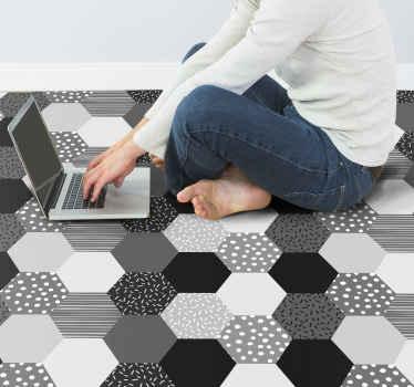 Maravilloso diseño de vinilo suelo con pentágonos en tonos grises para que decores tu casa de forma original y elegante ¡Envío exprés!
